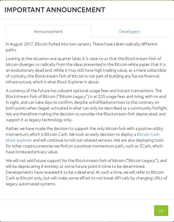 bitcoin cash explorer api vieno paspaudimo dvejetainis variantas